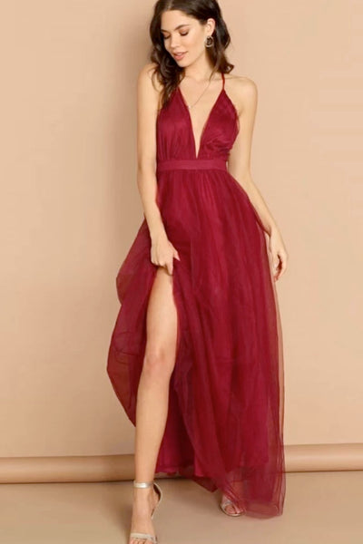 Simple Burgundy Tulle V Neck Long Homecoming Dress, Cocktail Dress B585