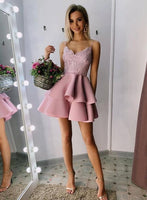 Pink lace short prom dress homecoming dress b58
