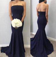 Simple Navy Blue Dress Strapless Long Mermaid Party Dress B592