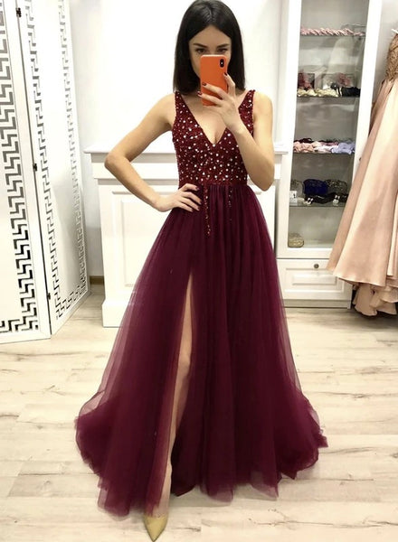 Deep Burgundy Tulle Beaded V Neck Long Dress Evening Dress With Slit B597