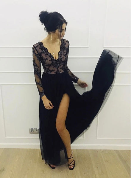 Black Tulle V Neck Long Sleeve Prom Dress Women Evening Dress B598