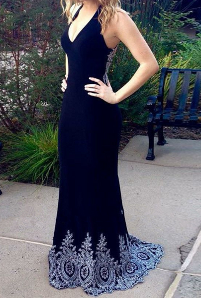 Black Chiffon Deep V Neck Long Mermaid Dress Evening Dress With Applique B600