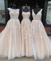 A line tulle lace long prom gown formal dress B601