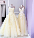 Yellow lace tulle long prom dress B608