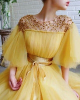 modest yellow prom dress long prom dresses wit tulle evening gown B613