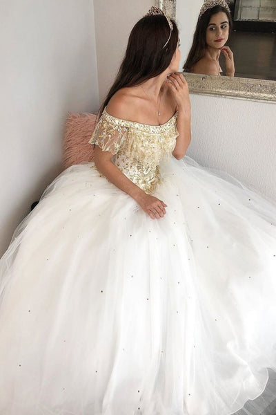 Elegant White Tulle Off Shoulder Beaded Long Lace Prom Dress, Formal Dress With Applique B70