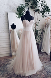 Champagne tulle sweetheart lace long prom dress tulle formal dress B76