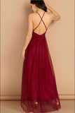 Simple v neck burgundy tulle long prom dress burgundy evening dress B78