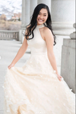 Beige tulle lace long prom dress tulle lace evening dress B79