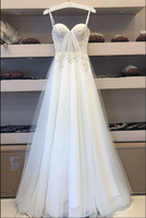 White sweetheart tulle lace long prom dress white lace evening dress B80