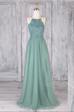 Green tulle lace long prom dress green lace evening dress B89
