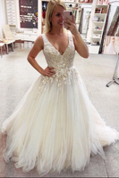 Light champagne v neck tulle lace long prom dress tulle formal dress B94