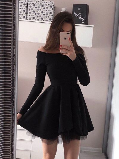 Short Black Homecoming Dress,Long Sleeve Party Dress C29