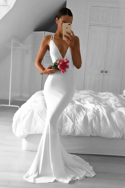 Mermaid Style White Prom Dresses with Deep V-neckline KS619