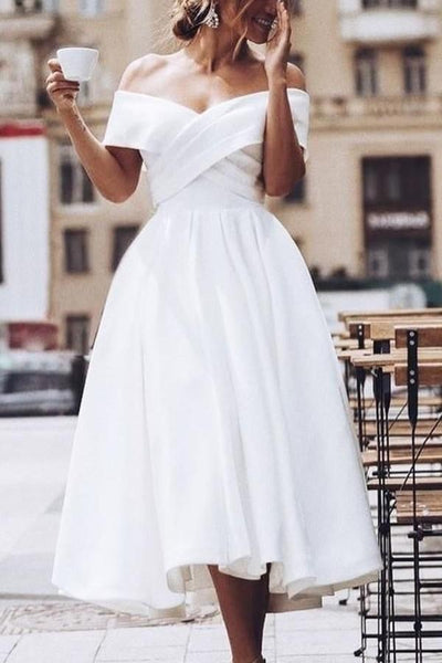Pleated Off-the-shoulder White Prom Dress Tea-Length KS483