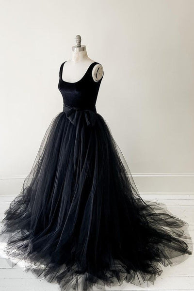 Black Velvet Tulle Prom Dresses with Bow Sash KS1258