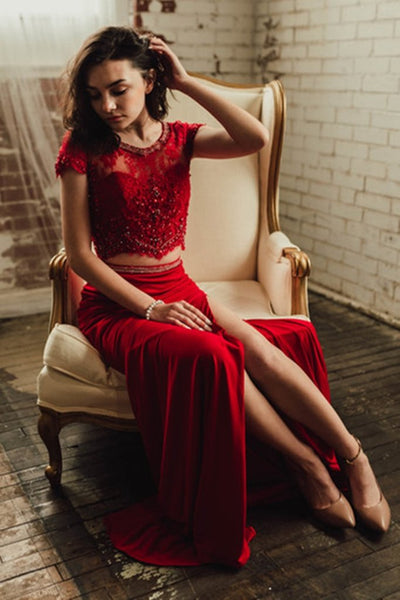 Elegant Round Neck Two Pieces Cap Sleeves Lace Burgundy Prom Dress with High Slit, Two Pieces Lace Burgundy Formal Dress, Burgundy Lace Evening Dress KS1082