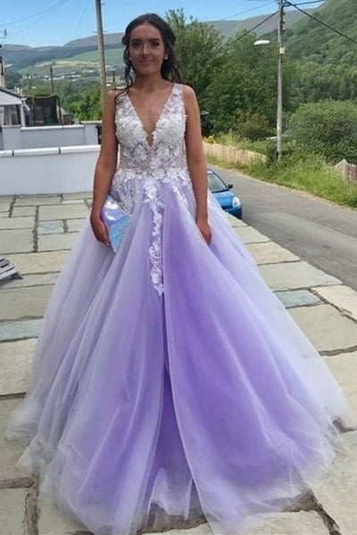 A Line V Neck and V Back Long White Lace Appliques Purple Prom Dress, V Neck Lace purple Formal Dress, Lace Purple Evening Dress KS1088