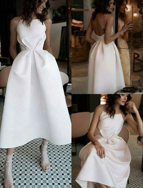 D1145,Sexy White Open Back Prom Dress,Tea Length Satin Party Dress