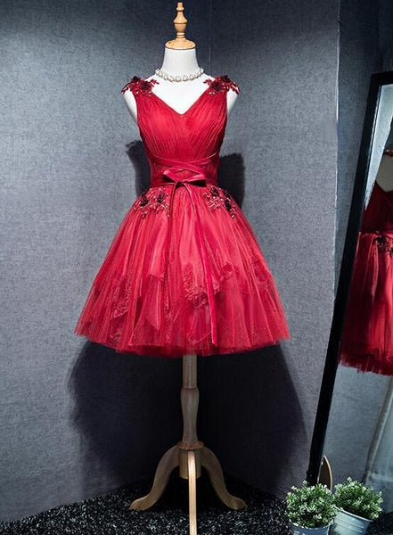 Cute V-neckline Short Party Dress, Red Homecoming Dress KS5801
