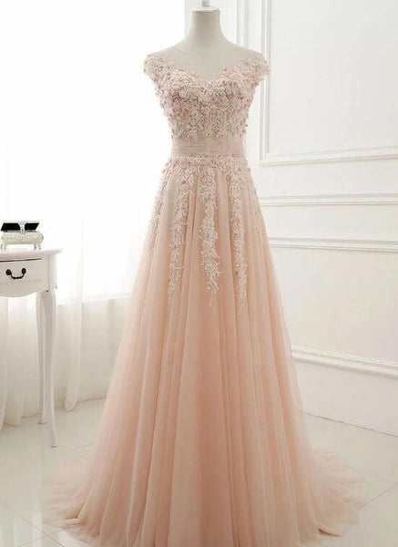 Elegant Pink Floral Lace Applique Tulle Long Party Dress, Pink Prom Dress KS5789