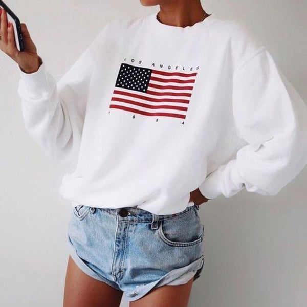 Winter Wram USA Letter print women fashion Long Sleeve Hoodie Sweatshirt Harajuku Jumper Hooded Pullover Tops Casual Loose Coat