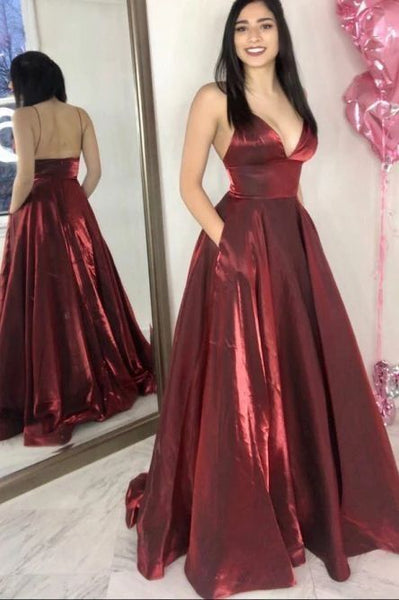 Charming V neck Burgundy Pretty Prom Dress, Long Evening Party Dress H3247