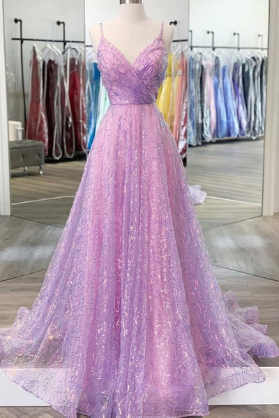 Shiny V Neck Backless Long Purple Prom Dress, Backless Lilac Formal Graduation Evening Dress KS876