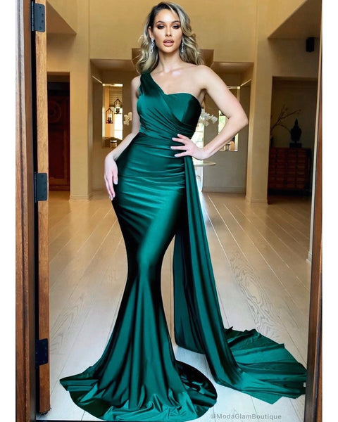 Sexy Mermaid One Shoulder Green Long Prom/Evening Dress Sweep Train NN15