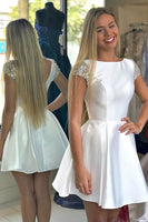 Short Prom Dress,White Homecoming Dress,Double Straps Lace Party Dress NN439