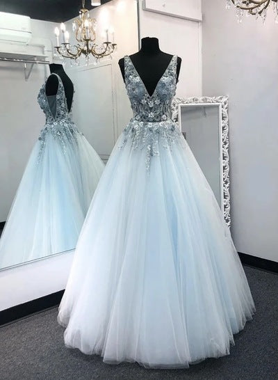 Light Blue Tulle V Neck Long A Line Prom Dress Formal Dress Graduation Dress NN70