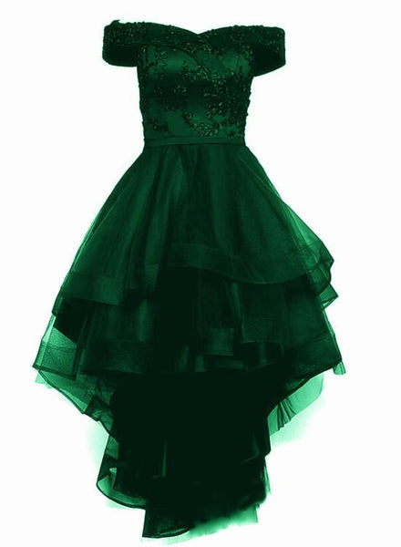 Fashionable Dark Green High Low Tulle with Lace Homecoming Dress, Green Party Dresses KS5278