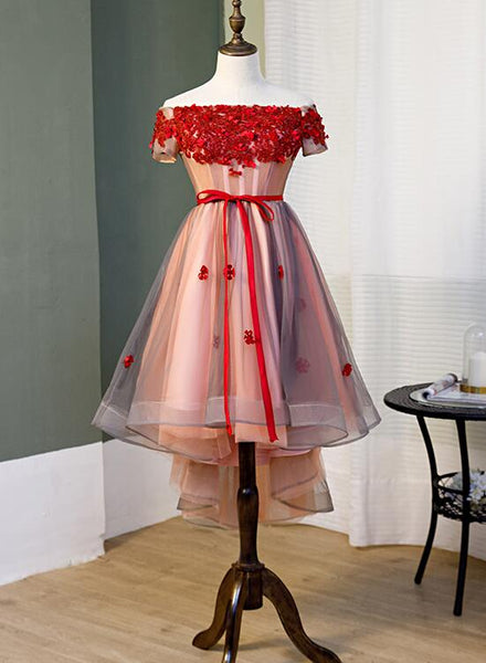 Red High Low Tulle Off Shoulder Party Dress, Red Homecoming Dress KS5469