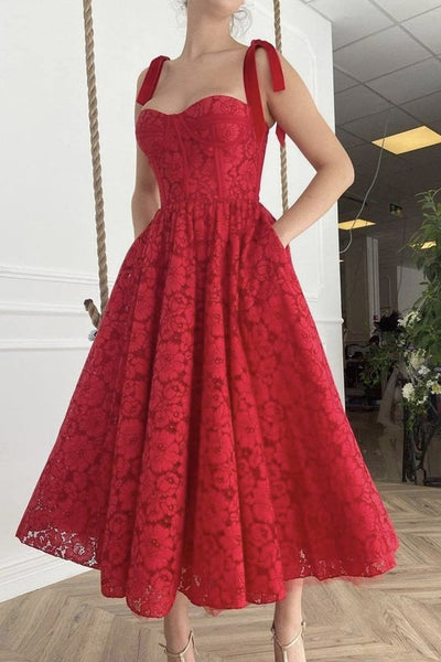 Sweetheart Neck Tea Length Red Lace Prom Dress, Red Lace Homecoming Dress, Red Formal Evening Dress KS6804