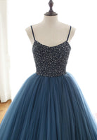 Blue tulle beads long prom gown evening dress KS4221
