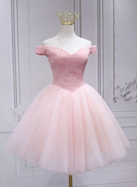 Lovely Pink Off Shoulder Style Princess Tulle Homecoming Dress, Pink Prom Dress Party Dress KS6930