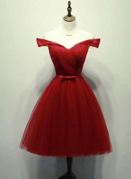 Charming Wine Red Knee Length Short Party Dress, Red Prom Dress KS5740