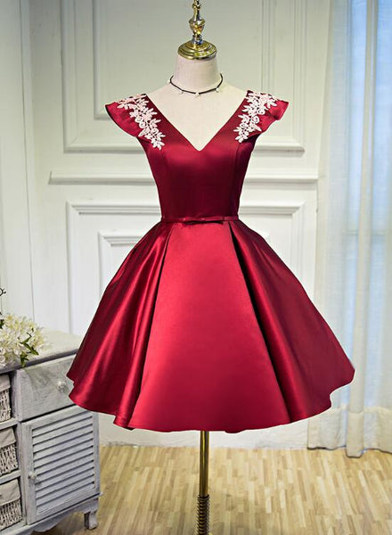 Beautiful Dark Red Satin Short Prom Dress, Red Homecoming Dress KS5876