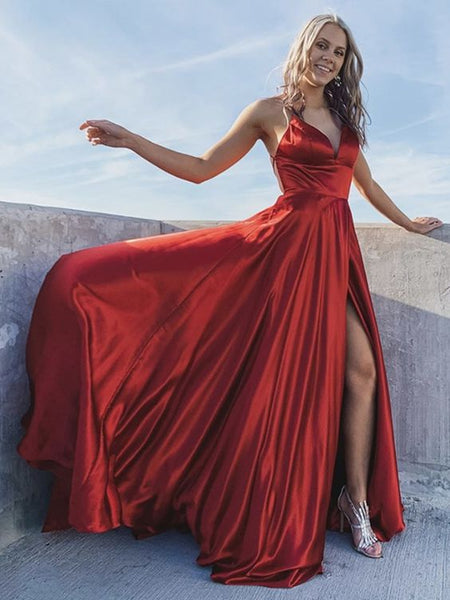 A Line V Neck Backless Burgundy Long Prom Dresses with High Slit, Backless Burgundy Formal Dresses, Burgundy Evening Dress P01012