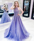 Purple tulle lace long prom dress evening dress P01013
