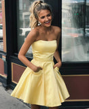 Yellow satin short prom dress party dress Homecoming Dress with Pockets P01015