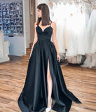 Black satin long prom dress evening dress P01019