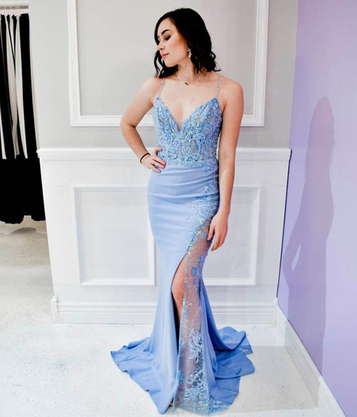 Blue lace long prom dress mermaid evening dress P01021