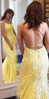 Criss-cross Straps Lace Fitted Long Prom Dresses Long Prom Gown, P01032