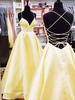 A Line V Neck Backless Yellow Long Prom Dresses with Cross Back, Backless Yellow Formal Graduation Evening Dresses P01043