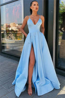 Spaghetti Straps Sexy Side Slit Formal Dresses Cheap Sleeveless Open Back Long Evening Gowns P01052