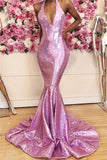 Candy Pink Sequins Mermaid Prom Dresses Cheap Online V-neck Sleeveless Sexy Long Formal Evening Gowns P01053