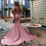 Spaghetti Straps Mermaid Pink Prom Dresses Cheap Beads Appliques Open Back Sexy Evening Gowns P01055