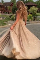 Open Back Champagne Gold Sequins Prom Dresses Sleeveless Long Cheap Formal Gowns P01056