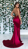 Burgundy Sleeveless Mermaid Backless Prom Dresses Cheap Spaghetti-Straps Lace Appliques Evening Gowns P01057